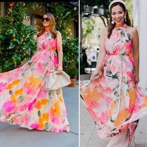 ELIZA J Floral Halter Maxi Dress